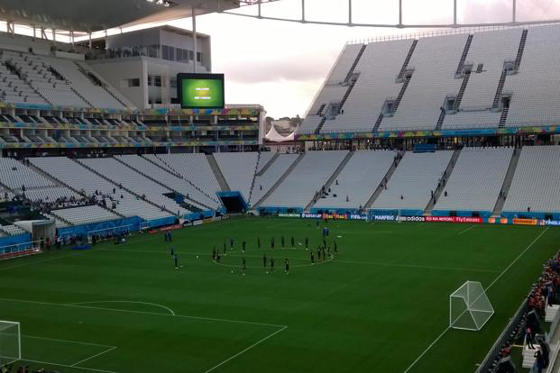 Slide 1 of 5: Arena Corinthians, Sao Paulo, on the eve of the opening game of the Fifa World Cup 2014 between Brazil and Croatia on Thursday.