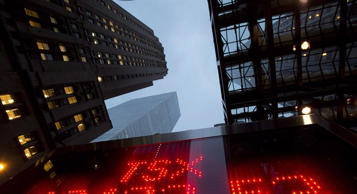 A tote board TSX numbers in Toronto, on Dec.31, 2012. THE CANADIAN PRESS/Frank Gunn