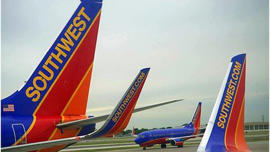 Southwest airline planes on tarmac: Budget airline Southwest is fined $200,000 by US regulators for TV adverts that promised low fares that did not exist.