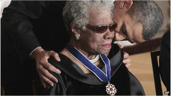 President Obama and Maya Angelou: Barack Obama gave Angelou the Presidential Medal of Freedom in 2011