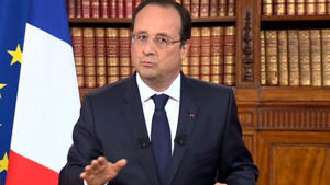 French TV channel France 2 shows French President Francois Hollande addressing the nation
