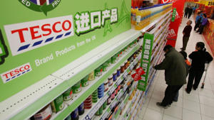 Shoppers at a Tesco store in China