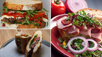 A selection of delicious sandwiches from around the world.