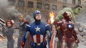THE AVENGERS, from left: Scarlett Johansson as Black Widow, Chris Hemsworth as Thor, Chris Evans as Captain America, Jeremy Renner as Hawkeye, Robert Downey Jr as Iron Man, Mark Ruffalo as The Hulk