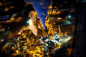 A gas and oil refinery is seen in an aerial view in the early morning hours in Bismarck, North Dakota.