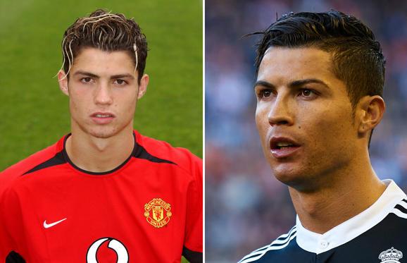 Cristiano Ronaldo: 2003 (L) and 2015