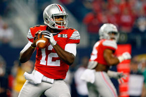 Quarterback Cardale Jones of the Ohio State Buckeyes looks to throw the ball against the Oregon Ducks during the College Football Playoff National Championship Game at AT&T Stadium on Jan. 12 in Arlington, Texas.