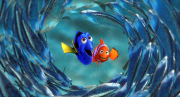 "This image provided by Pixar Animation Studios shows a scene from the Disney 2003 animated classic film, ""Finding Nemo,"" featuring characters Dory, left, and Marlin."