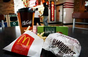 Customers order food from a McDonald's restaurant on October 24, 2013 in Des Plaines, Illinois.