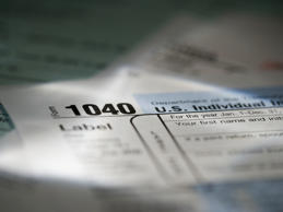Close-up of a 1040 tax form.