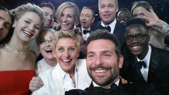 HOLLYWOOD, CA - MARCH 02: In this handout photo provided by Ellen DeGeneres, host Ellen DeGeneres takes a selfie with (clockwise from L-R) Jared Leto, Jennifer Lawrence, Channing Tatum, Meryl Streep, Julia Roberts, Kevin Spacey, Brad Pitt, Lupita Nyong'o, Angelina Jolie, Peter Nyong'o Jr. and Bradley Cooper during the 86th Annual Academy Awards at the Dolby Theatre on March 2, 2014 in Hollywood, California.  (Photo by Ellen DeGeneres/Twitter via Getty Images)