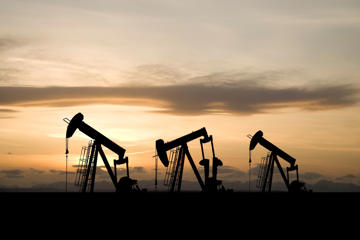 Oil pumpjacks in field