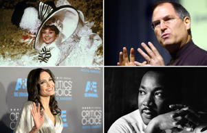 (Clockwise) Audrey Hepburn, Steve Jobs, Martin Luther King and Angelina Jolie