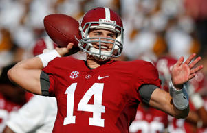Alabama quarterback Jake Coker throws before an NCAA college football game on Saturday, Sept. 13, 2014, in Tuscaloosa, Ala.