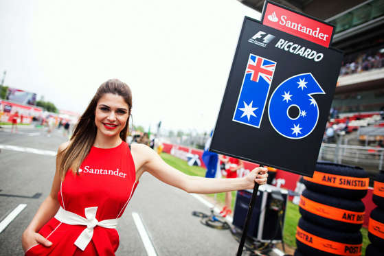 Grid girl for Daniel Ricciardo of Australia and Scuderia Toro Rosso is seen before the Spanish Formula One Grand Prix at the Circuit de Catalunya on May 13, 2012 in Barcelona, Spain.
