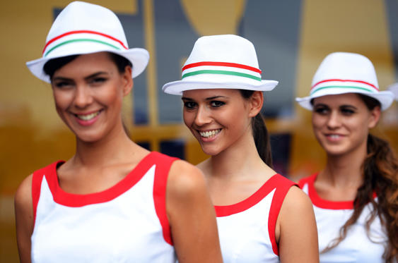 Grid girls are seen following qualifying for the Hungarian Formula One Grand Prix at Hungaroring on July 27, 2013 in Budapest, Hungary.