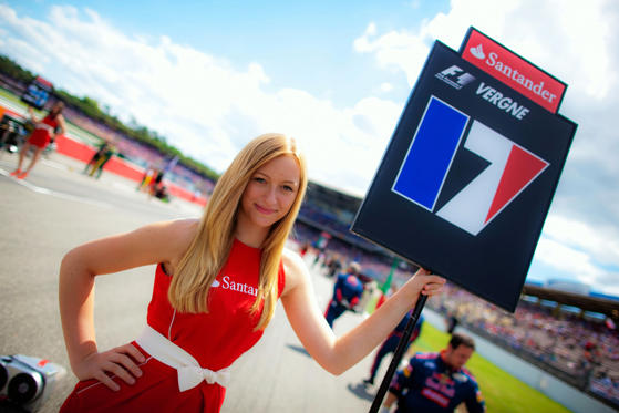 Grid girl for Jean-Eric Vergne of France and Scuderia Toro Rosso is seen before the German Grand Prix at Hockenheimring on July 22, 2012 in Hockenheim, Germany.