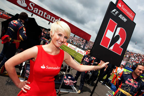 Grid girl for Sebastien Buemi of Switzerland and Scuderia Toro Rosso is seen before the British Formula One Grand Prix at Silverstone on June 21, 2009 in Northampton, England.