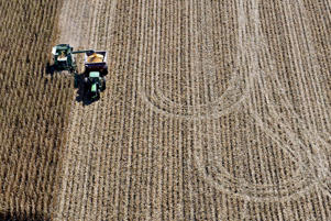 Corn is unloaded from a John Deere combine harvester into a grain cart during harvest near Peru, Illinois.