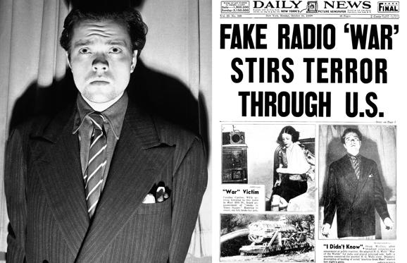 "Slide 1 of 21: Left: Orson Welles, radio and stage actor, whose dramatization, Oct. 30, 1938 of an H. G. Wells novel titled ""War of the Worlds"" which related the ""invasion"" of New Jersey by a horde of men from mars was interpreted by listeners as an actual news broadcast of the events supposed to presume the end of the world. Panicked listeners fled into streets to get away from the invaders: radio and police stations were swamped with calls all over the country - the broadcast was nation - wide (CBS) - and in Newark 15 persons were treated for shock after they rushed out of their homes to escape what appeared to be certain doom. Welles is after the broadcast. (AP Photo)  Right: UNITED STATES - OCTOBER 31:  New York Daily News Front page dated Oct. 31, 1938 Headline: FAKE RADIO 'WAR' STIRS TERROR THROUGH U.S. Orson Welles, after broadcast, expresses amazement at public reaction. He adapted H.G. Wells ""War of the Worlds"" for radio and played principal role. Left: a machine conceived for another H.G. Wells story. Dramatic description of landing of weird ""machine from Mars"" strarted last night's panic.  (Photo by NY Daily News Archive via Getty Images)"