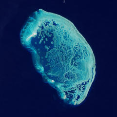 "About 60 miles north of Progresso, Mexico, five small islands stand amidst the largest coral structure in the southern Gulf of Mexico. This image is of Arrecife Alacranes —Spanish for ""Scorpion Reef"". For thousands of years, various species of coral have grown together to build the extensive reef. In addition to corals, the reef is composed of remains from algae, foraminifera, and molluscs. The area was designated a national park of Mexico in 1994 and a UNESCO biosphere reserve in 2006."