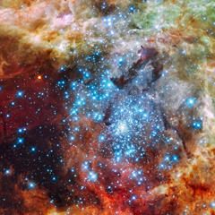 Astronomers using data from NASA's Hubble Space Telescope have caught two clusters full of massive stars that may be in the early stages of merging. The clusters are 170,000 light-years away in the Large Magellanic Cloud, a small satellite galaxy to our Milky Way.  What at first was thought to be only one cluster in the core of the massive star-forming region 30 Doradus (also known as the Tarantula Nebula) has been found to be a composite of two clusters that differ in age by about one million years.  The entire 30 Doradus complex has been an active star-forming region for 25 million years, and it is currently unknown how much longer this region can continue creating new stars. Smaller systems that merge into larger ones could help to explain the origin of some of the largest known star clusters.