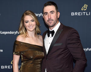 YORK CITY - FEBRUARY 22: Kate Upton with Justin Verlander on the red carpet at the '#LEGENDARYFUTURE' Roadshow 2018 New York on February 22, 2018. (Photo by Dimitrios Kambouris/Getty Images for Breitling)