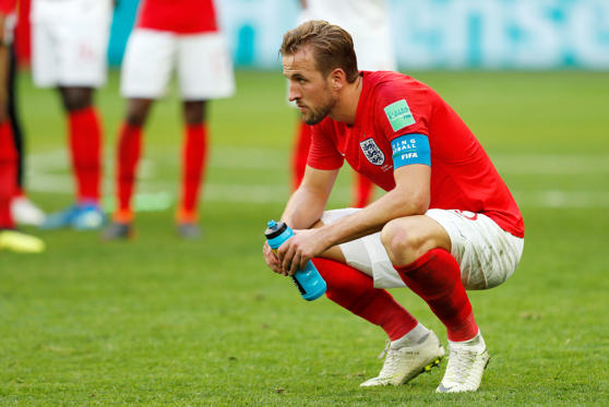 שקופית 4 מתוך 66: England's Harry Kane looks dejected after the match on July 14.