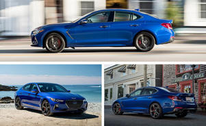a blue car parked in a parking lot: May It Cut In? The Genesis G70 Dances Like the Stars
