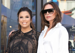 HOLLYWOOD, CA - APRIL 16:  Actress Eva Longoria (L) and Fashion Designer Victoria Beckham (R) attend the ceremony to honor Eva Longoria with a Star on The Hollywood Walk Of Fame on April 16, 2018 in Hollywood, California.  (Photo by Paul Archuleta/FilmMagic)