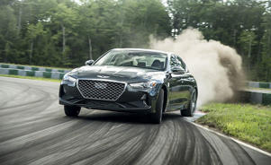 a car parked on the side of a road: May It Cut In? The Genesis G70 Dances Like the Stars
