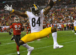 Steelers wide receiver Antonio Brown (84) celebrates after his 27-yard score against the Buccaneers on Sept. 24, in Tampa, Fla.