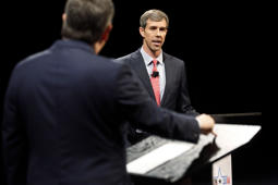 Rep. Beto O'Rourke (D-TX) listens as Sen. Ted Cruz (R-TX) makes a statement during a debate at McFarlin Auditorium at SMU on Sept. 21, in Dallas, Texas.