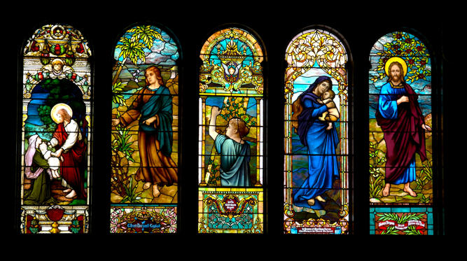 Slide 1 of 44: This window is in the sanctuary of the First United Methodist Church in Little Rock, Arkansas, USA. It, along with these windows, has been in place since 1900. Church officials today don't know who made the windows.