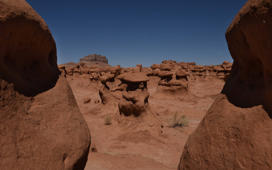 Rock sculptures formed by erosion in the Goblin Valley State Park near Moab, Utah on April 25, 2018. - The park has thousands of rock formations, known locally as 'goblins', which are mushroom-shaped rock pinnacles that can be up to several metres high. (Photo by Mark Ralston / AFP)        (Photo credit should read MARK RALSTON/AFP/Getty Images)