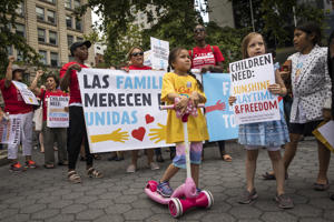NEW YORK, NY - JULY 18:  Activists, including childcare providers, parents and their children, protest against the Trump administrations recent family detention and separation policies for migrants along the southern border, near the New York offices of U.S. Immigration and Customs Enforcement (ICE), July 18, 2018 in New York City. On Wednesday, the GOP-led House of Representatives passed a resolution supporting ICE and denounced calls by some Democrats and progressive activists to abolish ICE. (Photo by Drew Angerer/Getty Images)