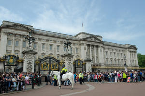 People gathered outside Buckingham Palace
