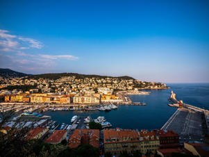 Skyline of coastal town of Nice in France during sunset.