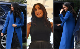 Meghan looks stunning in blue Smythe coat for Grenfell book launch