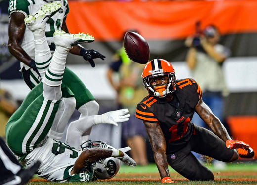 Slide 3 of 55: Sep 20, 2018; Cleveland, OH, USA; Cleveland Browns wide receiver Antonio Callaway (11) watches as the ball falls to the turf while New York Jets defensive back Doug Middleton (36) rolls over during the first half of a game at FirstEnergy Stadium.