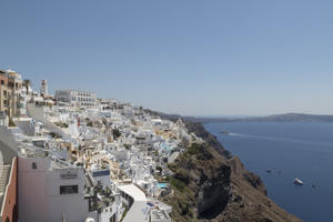 Traditional houses at Fira with wonderful views to the Santorini caldera on July 16, 2018 in Santorini, Greece. Fira is the capital of Santorini. (Photo by Athanasios Gioumpasis/Getty Images)