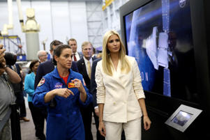 White House Senior Advisor Ivanka Trump is guided on a tour of the Johnson Space Center by astronaut Nicole Mann in Houston, Texas, U.S., September 20, 2018.  REUTERS/Loren Elliott