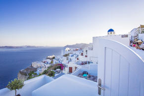 A general view of the picturesque village of Oia (Ia) on Santorini Island on August 12, 2017 in Mykonos, Greece. (Photo by Claudio Lavenia/Getty Images)