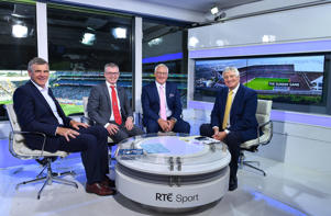 RTÉ Sunday Game presenter Michael Lester, right, with panalists, from left, Colm O'Rourke, Joe Brolly and Pat Spillane ahead of Lester's final Sunday Game broadcast prior to the GAA Football All-Ireland Senior Championship Final match between Dublin and Tyrone at Croke Park in Dublin.