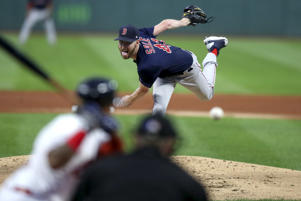 CLEVELAND, OH - SEPTEMBER 21: Boston Red Sox starting pitcher Chris Sale (41) delivers a pitch to the plate during the first inning of the Major League Baseball game between the Boston Red Sox and Cleveland Indians on September 21, 2018, at Progressive Field in Cleveland, OH. (Photo by Frank Jansky/Icon Sportswire via Getty Images)