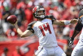 CAPTION: TAMPA, FL - SEPTEMBER 16: Tampa Bay Buccaneers quarterback Ryan Fitzpatrick (14) throws a touchdown pass on the first play of the game during an NFL game between the Philadelphia Eagles and the Tampa Bay Buccaneers on September 16, 2018, at Raymond James Stadium in Tampa, FL.