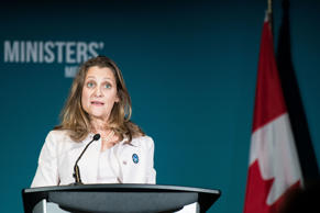Canadian Foreign Minister Chrystia Freeland speaks during the Women Foreign Ministers' Meeting with European Union Foreign Policy Chief Federica Mogherini in Montreal