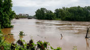 RICHMOND, TX - JUNE 03:  The Brazos River is seen at a high level after heavy rainfall has brought flooding to the area on June 3, 2016 in Richmond, Texas. The Brazos River reached a record level on Thursday climbing above 54 feet. (Photo by Bob Levey/Getty Images)