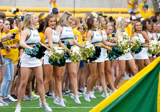 Slide 1 of 75: Baylor Bears cheerleaders before during the NCAA Football game between the Kansas Jayhawks and the Baylor Bears at McLane Stadium in Waco, Texas