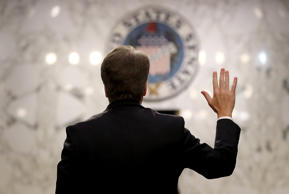 WASHINGTON, DC - SEPTEMBER 04:  Supreme Court nominee Judge Brett Kavanaugh is sworn in before the Senate Judiciary Committee during his Supreme Court confirmation hearing in the Hart Senate Office Building on Capitol Hill September 4, 2018 in Washington, DC. Kavanaugh was nominated by President Donald Trump to fill the vacancy on the court left by retiring Associate Justice Anthony Kennedy.  (Photo by Mark Wilson/Getty Images)